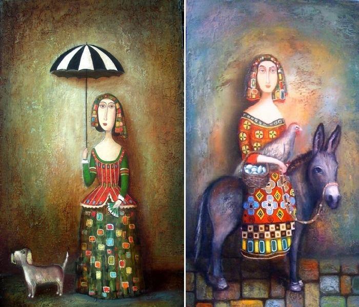 Прогулка. / Девушка на ослике. Живопись Давида Мартиашвили.