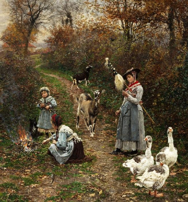«Пастушка на опушке леса разжигает костер». (1880 год). Автор: Фирмен-Жирар.