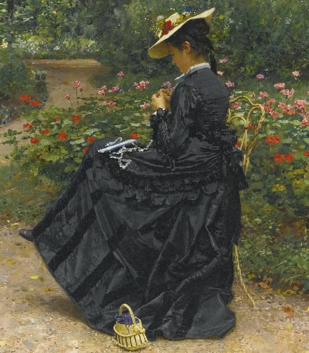«Женщина, шьющая в саду». (1875 год). Автор: Фирмен-Жирар.