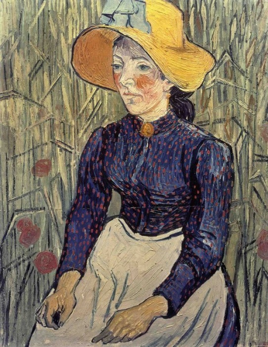 Портрет молодой женщины в соломенной шляпе. Автор: Ван Гог.