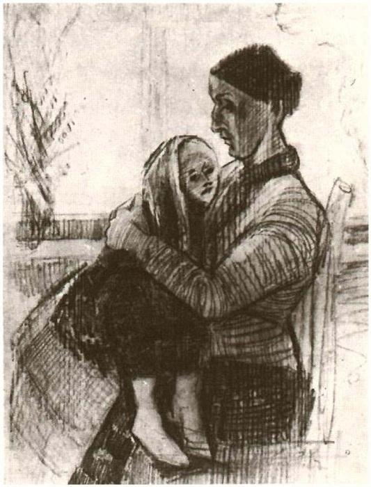 «Син нянчит ребёнка» (1882). Автор: Ван Гог.