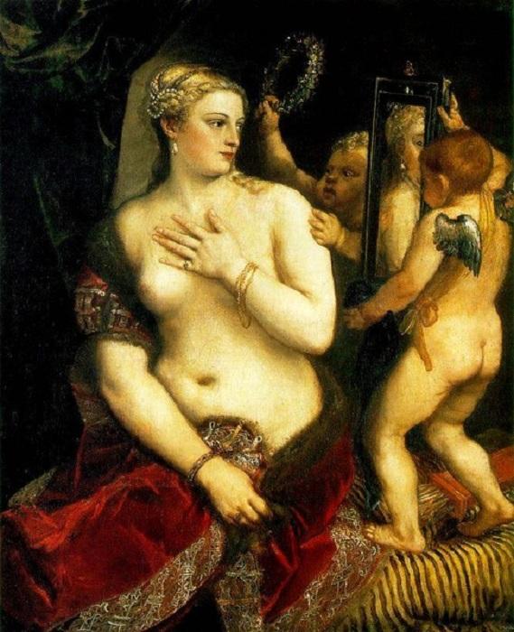 Венера с зеркалом. (1560). Автор: Вечелио Тициан.