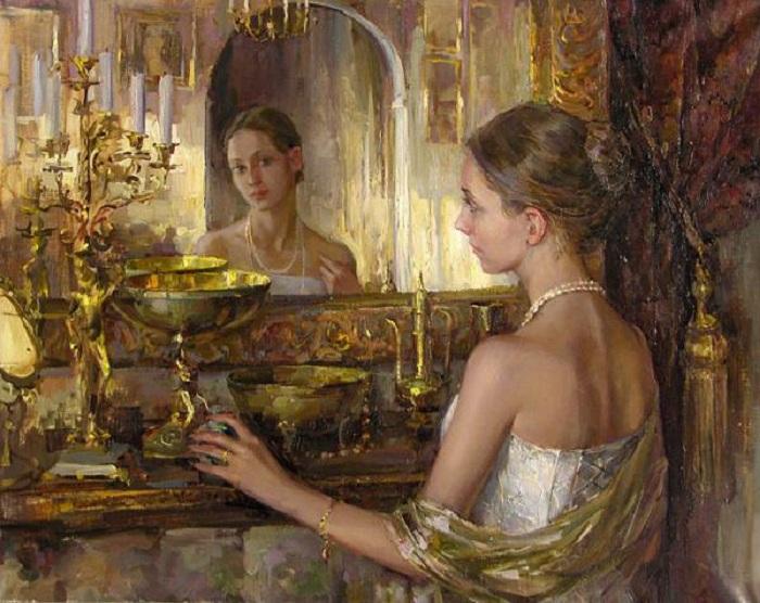 Женщина и зеркало - неисчерпаемая тема в живописи.