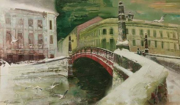 Красный мост. Автор: Сергей Сиделев.