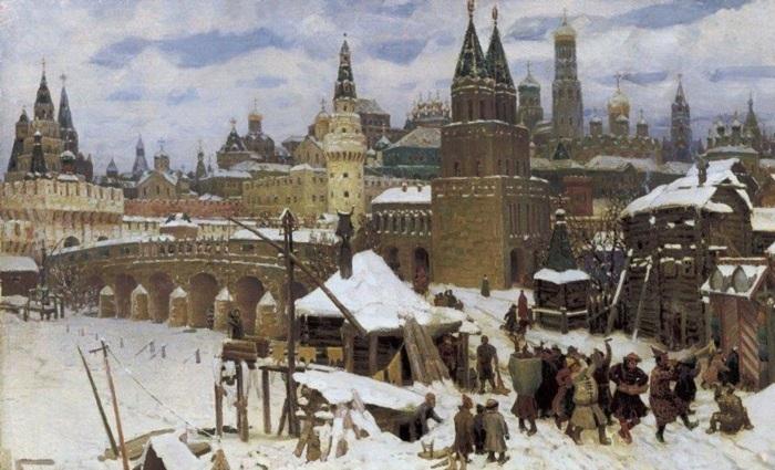 Всехсвятский каменный<br>мост, конец XVII века. 1901 год. Автор:: А.М. Васнецов.