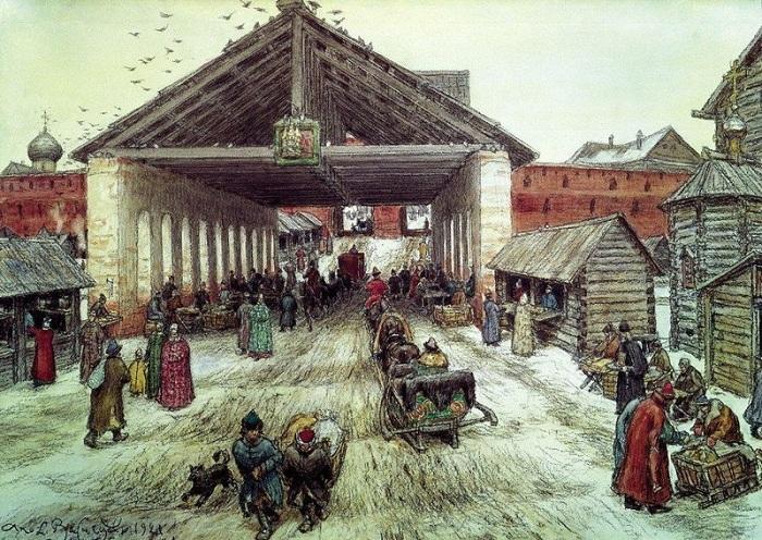 Воскресенский мост в XVII веке. 1921. Автор: Васнецов А.М.