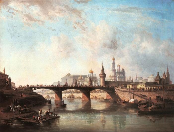 Вид Москворецкого моста. (1857). Автор: Джозеф Андреас Вайс.