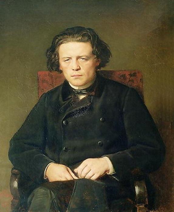 Портрет композитора Антона Григорьевича Рубинштейна. (1870). ГММК им. М. И. Глинки. Автор: В.Перов.