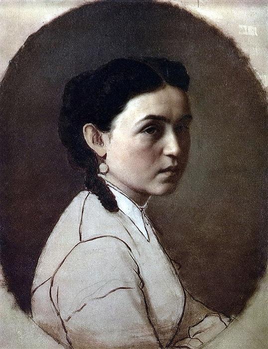 Портрет Елены Эдмундовны Шейнс - жены художника. (1868). Автор: В.Перов.