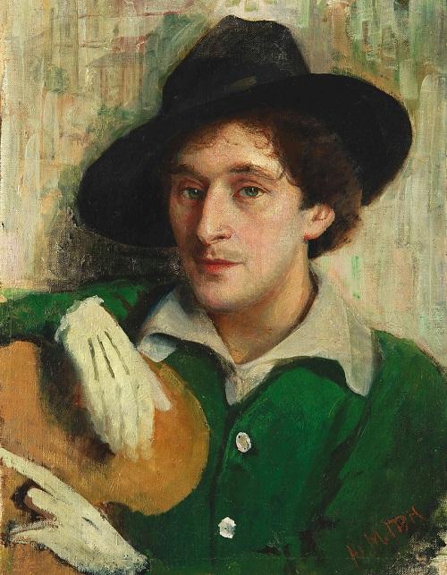 Портрет молодого Марка Шагала кисти его учителя Юделя Пэна. (1914).