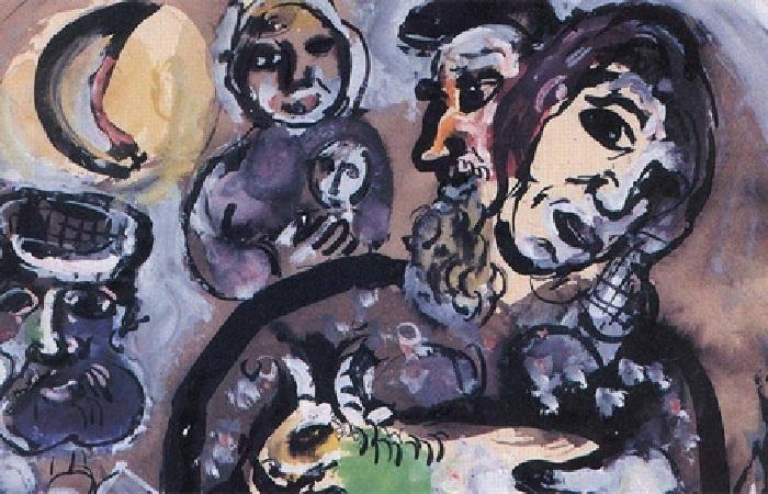 Фрагмент работы Марка Шагала «Пейзане», украденной 6 лет назад, и обнаруженной в Лос-Анджелесе.