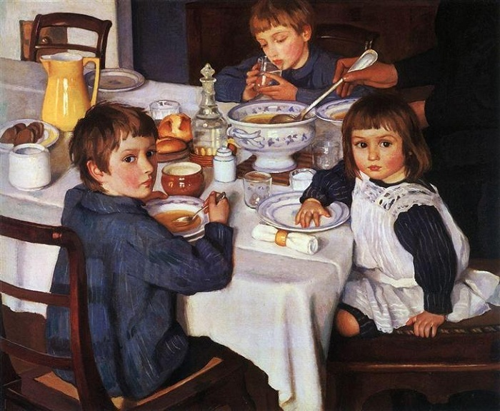«За завтраком». (1914). Автор: Зинаида Серебрякова.