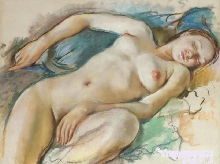 Спящая обнаженная. (1929). Автор: Зинаида Серебрякова.