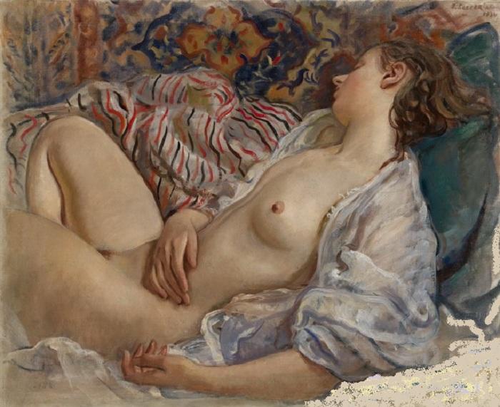Лежащая обнаженная. (1934). Автор: Зинаида Серебрякова.