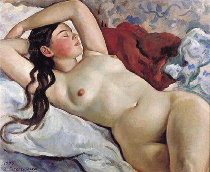 Спящая обнаженная. (1935). Автор: Зинаида Серебрякова.