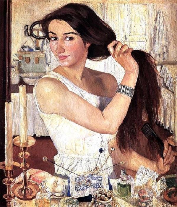 «За туалетом». Автопортрет. (1909). Автор: Зинаида Серебрякова.