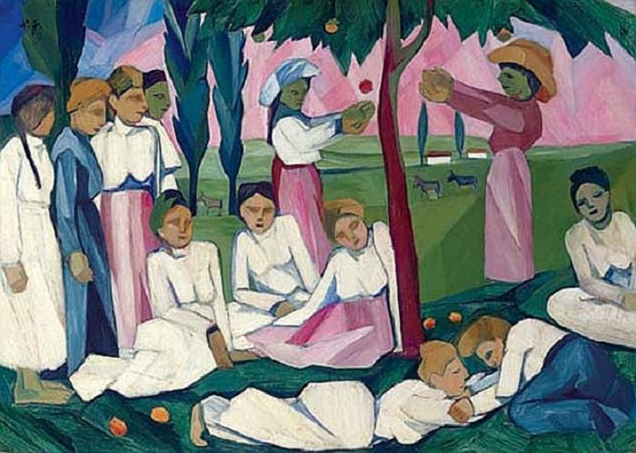 Сбор яблок.(1909) Christie's,2007 - $9 778 656. Автор: Наталья Гончарова.