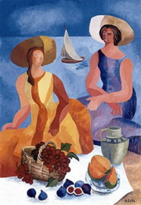 Пикник на пляже. (1928). Christie's, 2006 - $1,269 млн. Автор: Александра Экстер.
