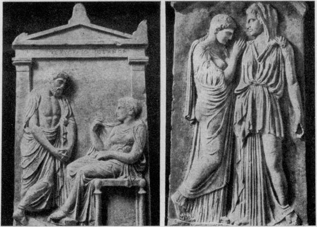 Надгробные античные стелы.
