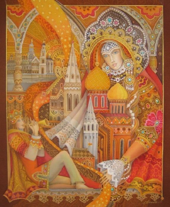 «Песня любимому городу». Роспись по шелку (батик). Автор: Любовь Тощева.