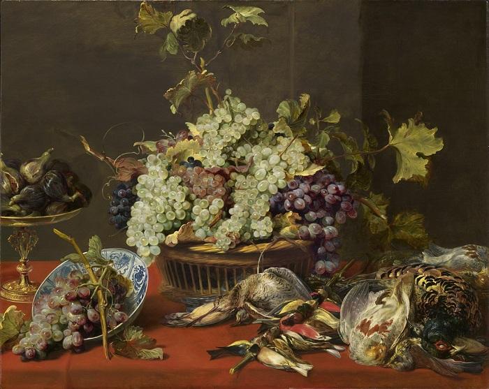 «Натюрморт с виноградом и добычей». (ок.1630) (Вашингтон, Национальная галерея). Автор: Франс Снейдерс.