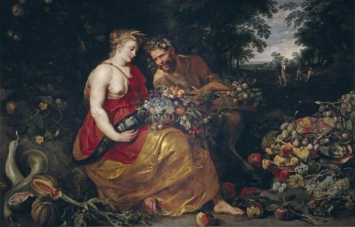 «Церера и Пан». (совместно с Паулем Питером Рубенсом) (ок.1615) (Мадрид, Прадо). Автор: Франс Снейдерс.