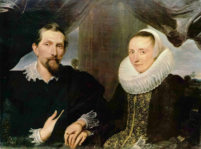 Антонис ван Дейк. Портрет Франса Снейдерса с женой (1-я треть XVII в) (Кассель, Картинная галерея старых мастеров)