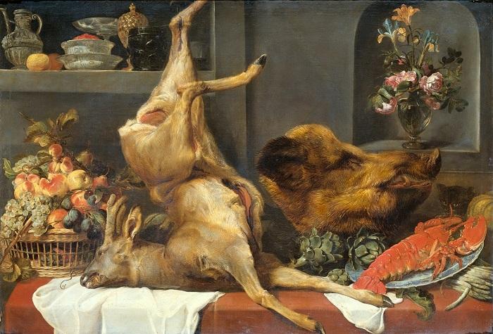 «Натюрморт с косулей, кабаньей головой, омаром и фруктами». (ок.1657) (Амстердам, Государственный музей). Автор: Франс Снейдерс.