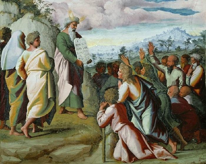 «Истории Моисея и Иисуса Навина». Моисей показывает скрижали завета народу Израиля.