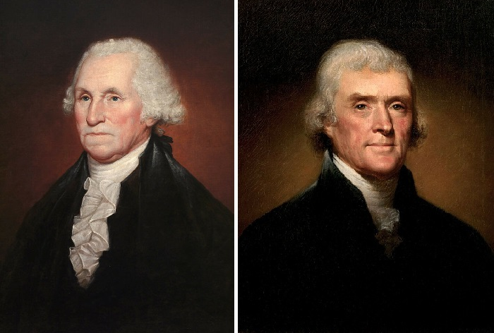 Портрет Джорджа Вашингтона, 1795 год. / <br> Томас Джефферсон, 1800 год. Автору всего лишь 23 года. Автор: Рембрандт Пил.
