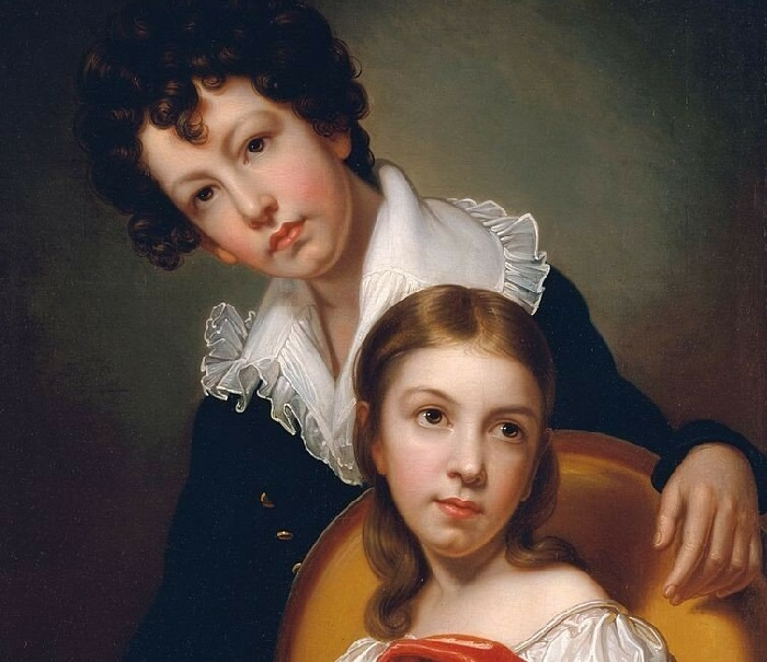 Микеланджело и Эмма Клара Пил, дети художника, 1826 год. Автор: Рембрандт Пил.