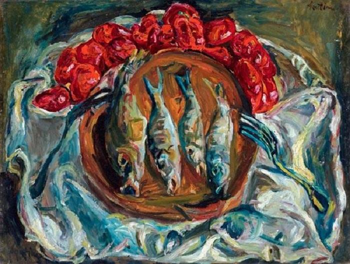Рыба и помидоры. Ок. (1924). Холст, масло. 61 x 81, Sotheby's. Цена: 2 729 250 фунтов. Автор: Хаим Сутин.