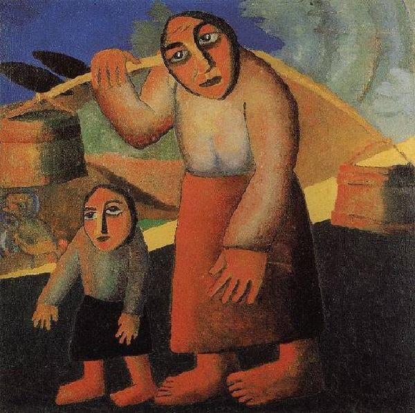 «Крестьянка с ведрами и ребенком».  Автор: Казимир Малевич.