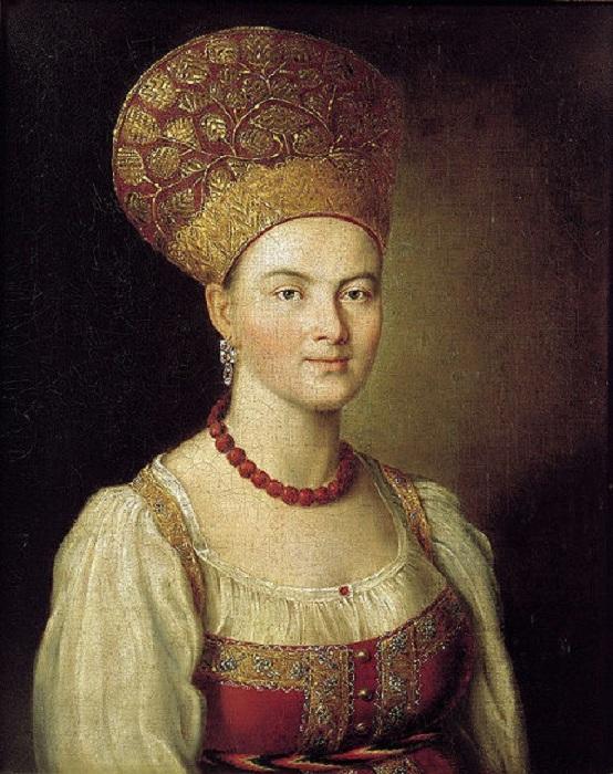 Николай Иванович Аргунов (1771-после 1829). Портрет неизвестной крестьянки в русском костюме.