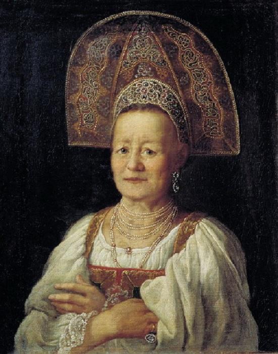 Дрождин Петр Семенович.Портрет купчихи в кокошнике.