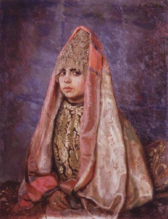 В. Васнецов. Портрет В. С. Мамонтовой в однорогом кокошнике.