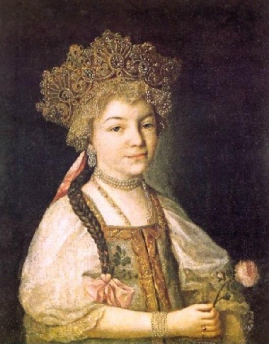 Александра Павловна - великая княжна, внучка Екатерины Великой. Неизвестный художник.