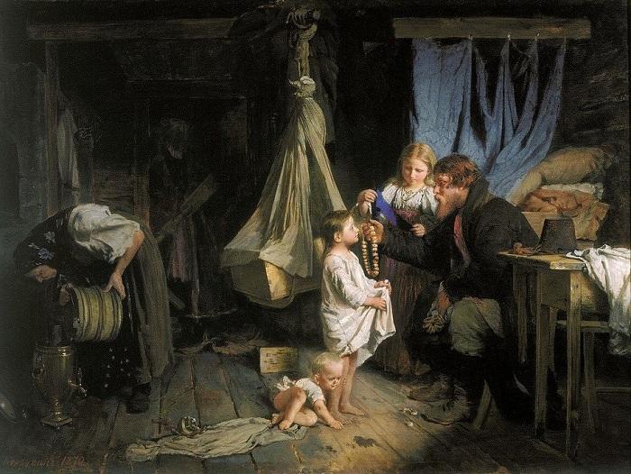«Возвращение из города». (1870). Автор: А.И.Корзухин.