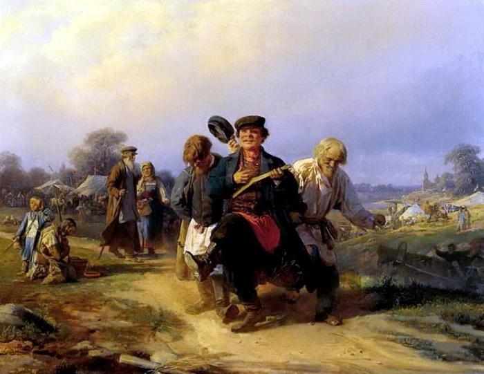 «Возвращение отца семейства с сельской ярмарки». (1868). Автор: А.И.Корзухин.