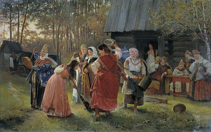 «Девичник» (1889). Автор: А.И.Корзухин.