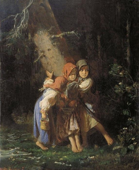 «Крестьянские девочки в лесу». (1877). Холст, масло. 94 x 68,6   Цена: 266,5 тысячи долларов . 2011