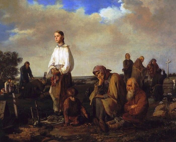 «Поминки на деревенском кладбище». Автор: А.И.Корзухин.