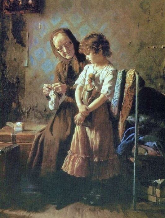«Бабушка с внучкой». (1879). Автор: А.И.Корзухин.