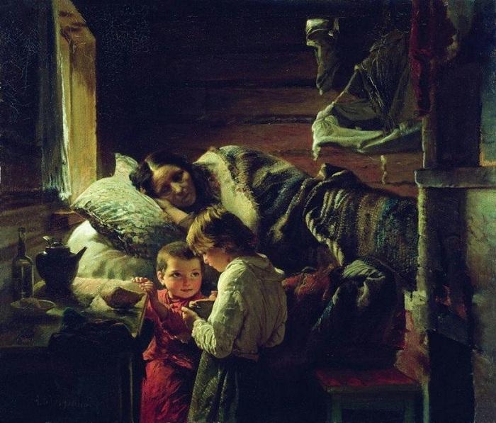 «У краюшки хлеба». (1890). Автор: А.И.Корзухин.