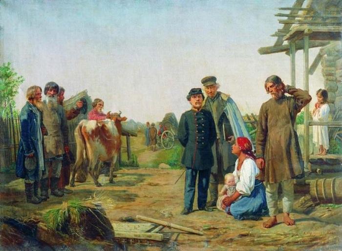 «Сбор недоимок (1868)». Автор: А.И.Корзухин.