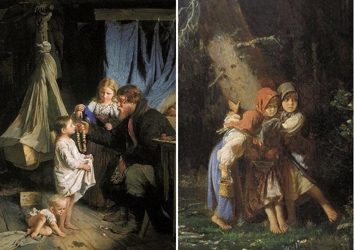 «Возвращение из города». Фрагмент. / «Крестьянские девочки в лесу». Фрагмент. Цена: 266,5 тысячи долларов. Christie's. (2011). Автор: А.И.Корзухин.