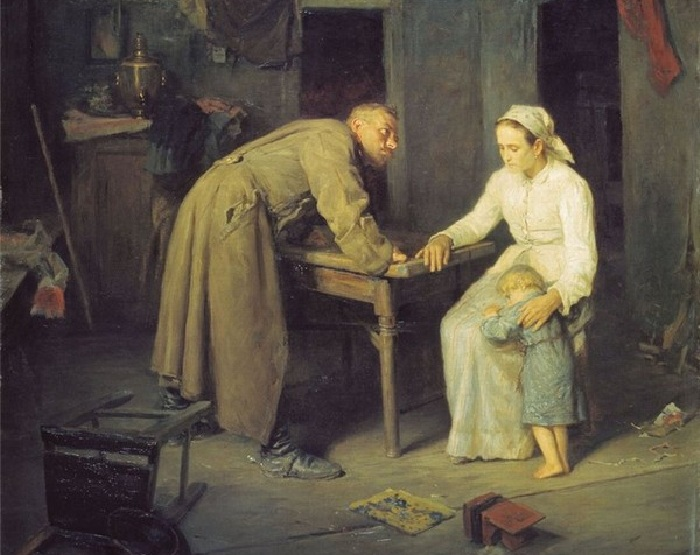 «Пьяный отец семейства». (1861). Автор: А.И.Корзухин.