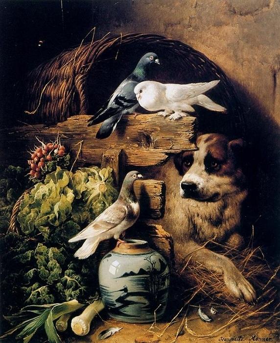 «Собака и голуби». Автор: Генриетта Роннер-Книп.