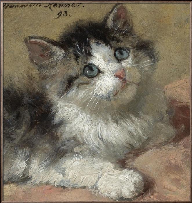 Любопытный котенок. 1893. Дерево, масло. 11 х 10 см. Этот крошечный портрет в 2009 году ушел с аукциона за 29 тысяч долларов.