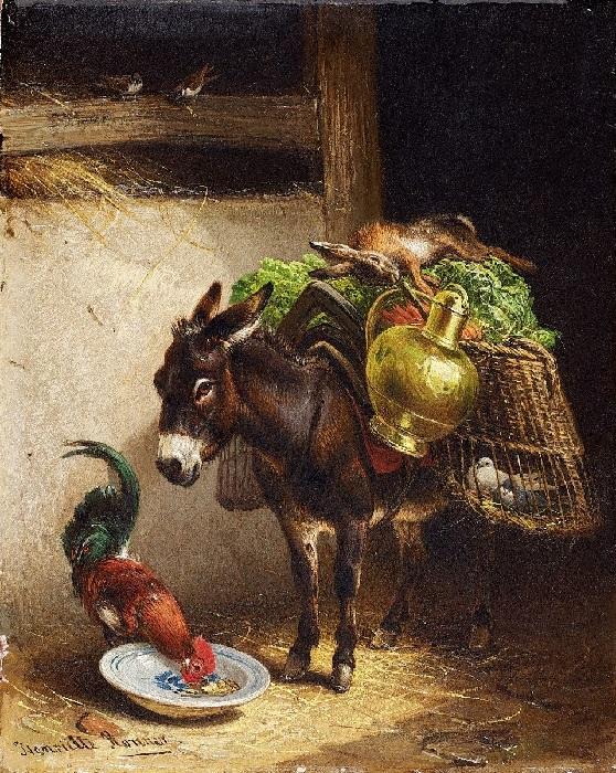 «Ослик и петух в амбаре».  Автор: Генриетта Роннер-Книп.
